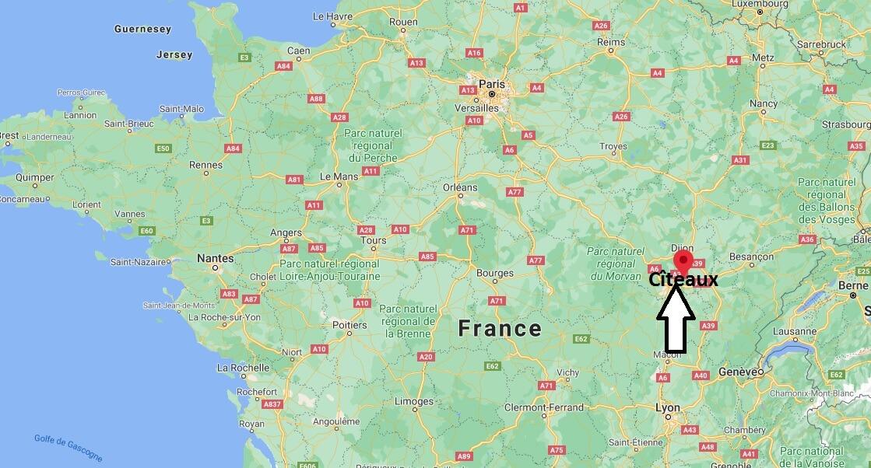 Où se situe Cîteaux (Code postal 21700)
