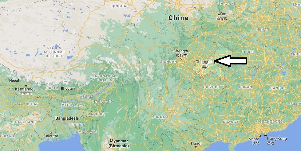 Où se trouve Chongqing sur la carte du monde