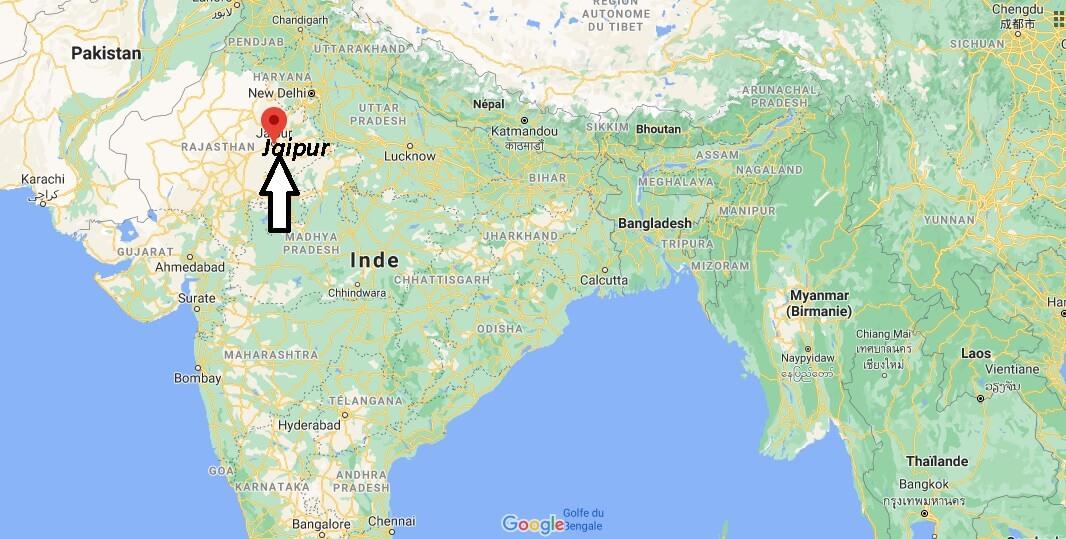 Où se trouve Jaipur sur la carte du monde