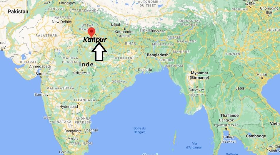 Où se trouve Kanpur sur la carte du monde