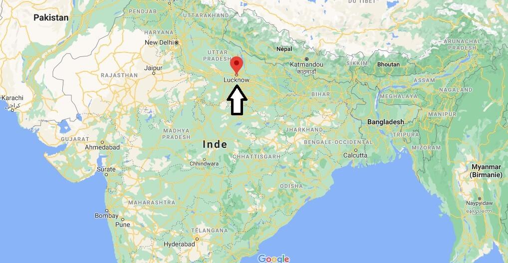 Où se trouve Lucknow sur la carte du monde