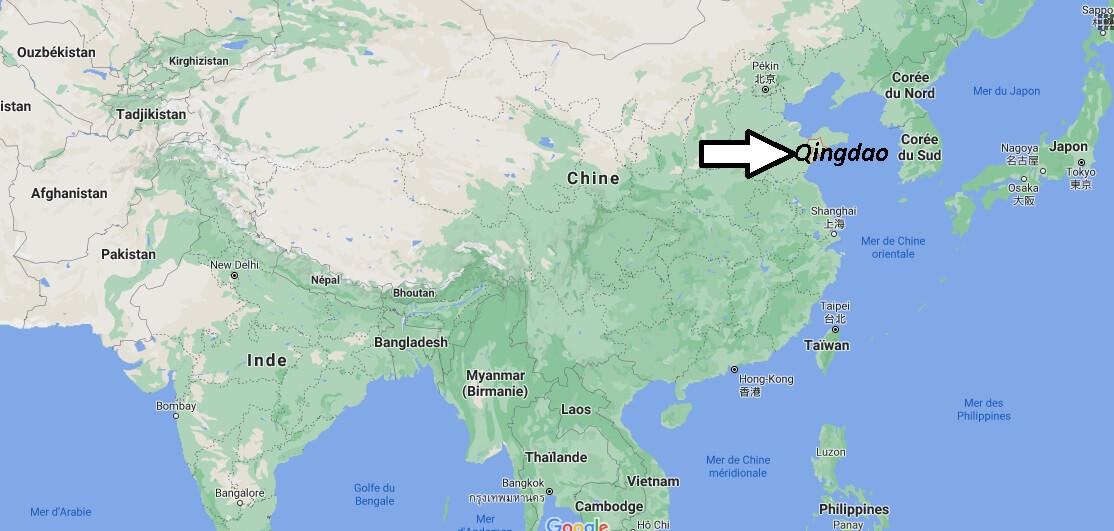 Où se trouve Qingdao sur la carte du monde