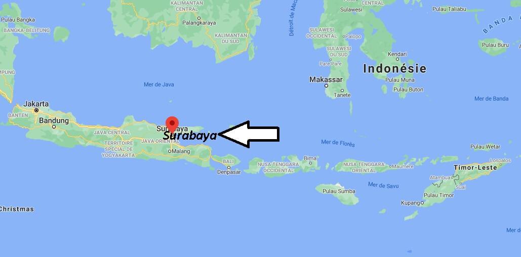 Où se trouve Surabaya sur la carte du monde