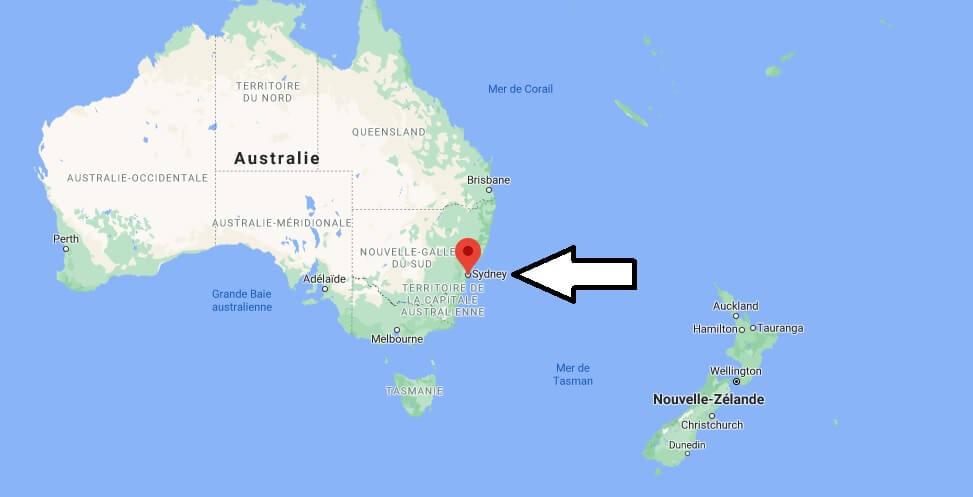 Où se trouve Sydney sur la carte du monde