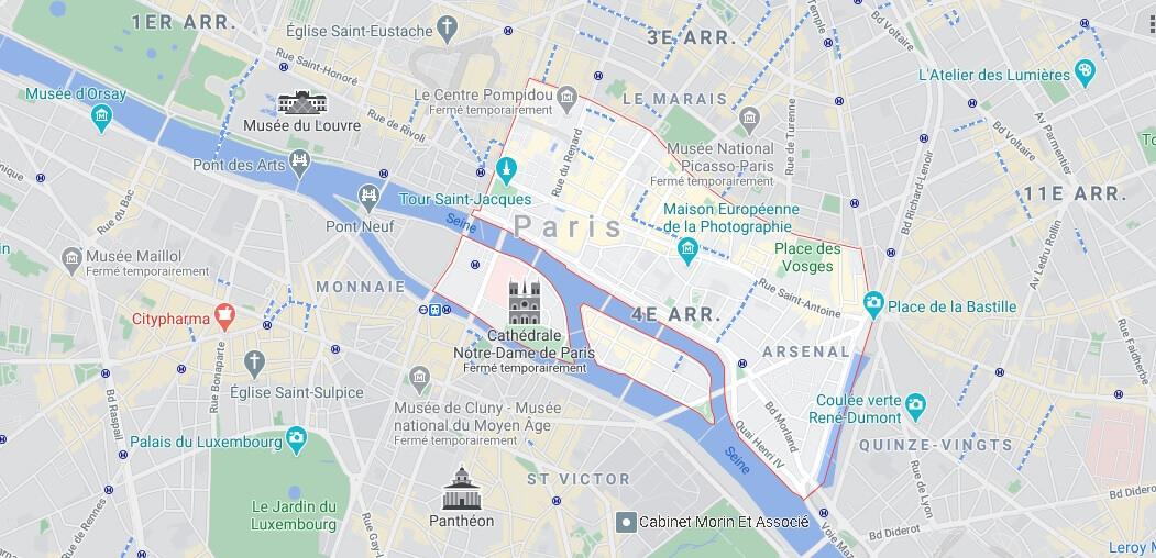 Où se trouve le 4eme arrondissement de Paris