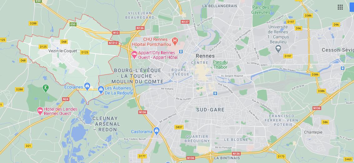 Dans quelle région se trouve Vezin-le-Coquet