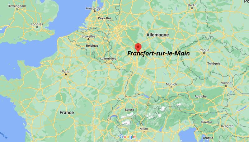 Où se trouve Francfort-sur-le-Main sur la carte