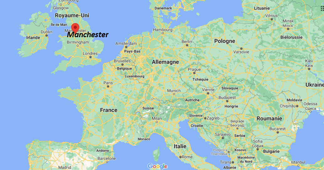 Où se trouve Manchester sur la carte