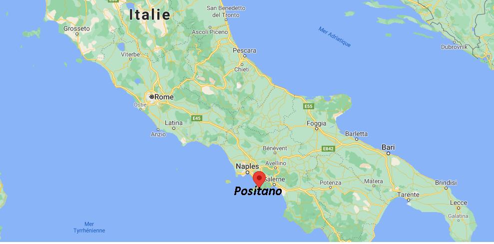 Où se trouve Positano sur la carte