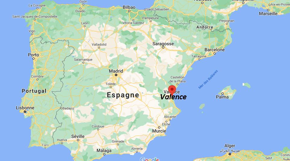 Où se trouve Valence sur la carte