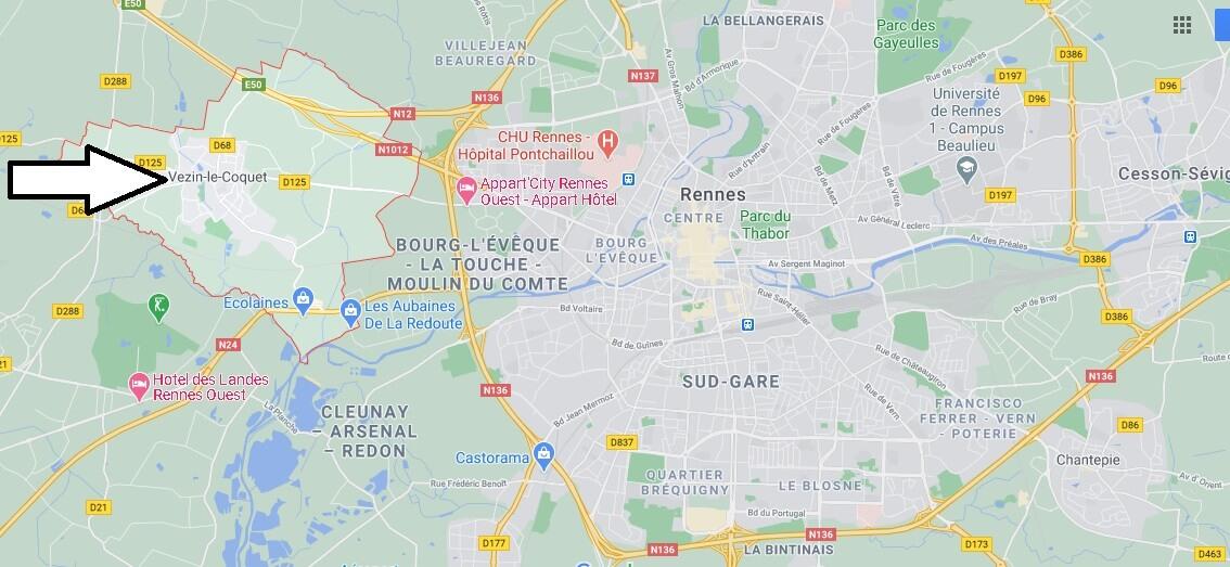 Où se trouve Vezin-le-Coquet