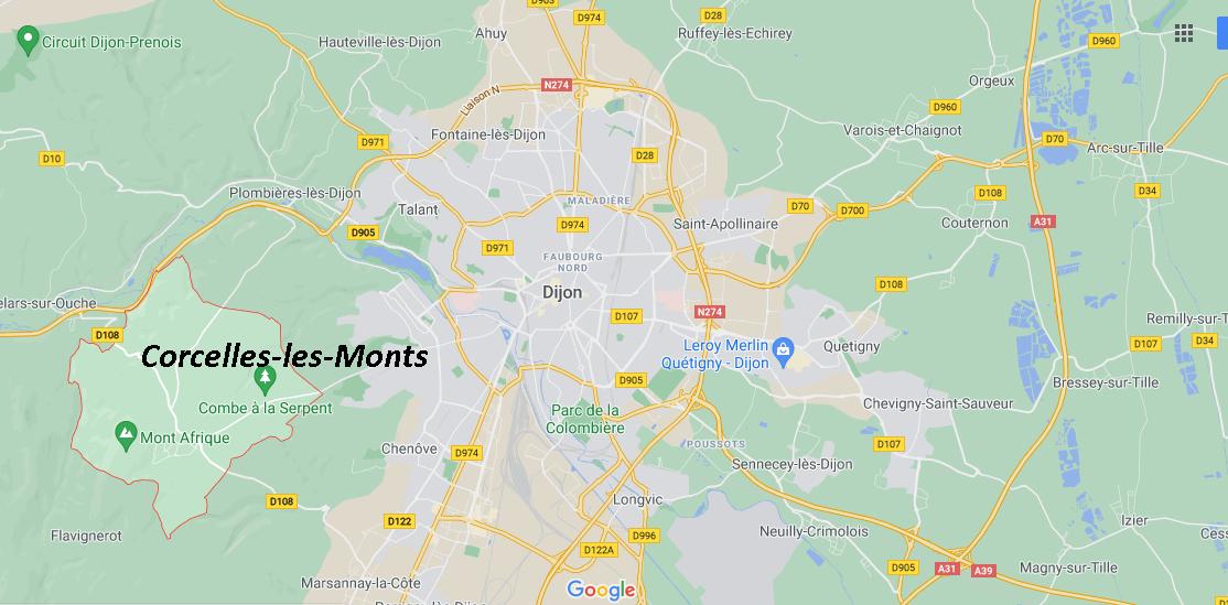 Où se situe Corcelles-les-Monts (21160)