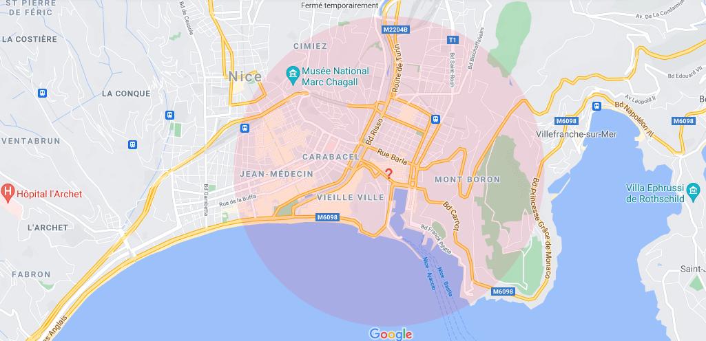 Où se situe Le Château de Nice