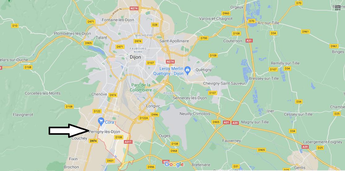 Où se situe Perrigny-lès-Dijon (21160)