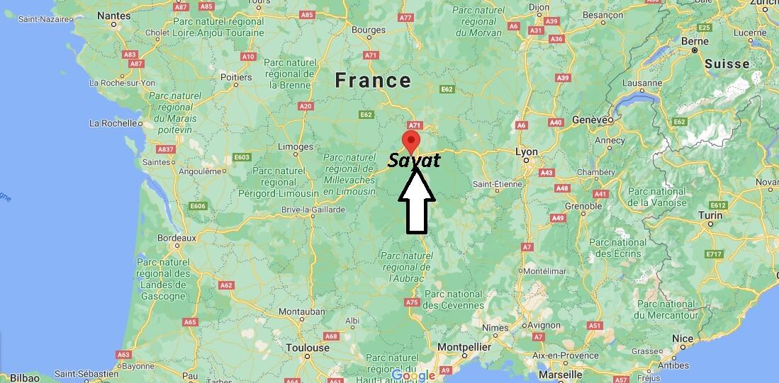 Où se situe Sayat (Code postal 63530)