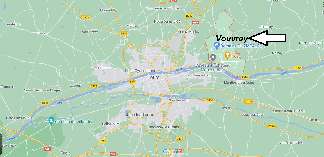 Où se situe Vouvray (Code postal 37210)