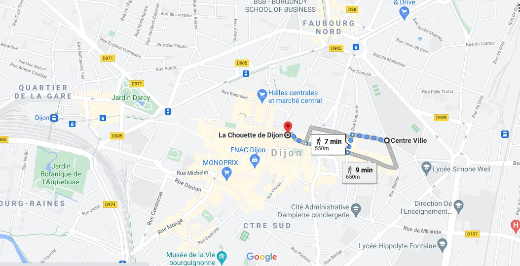 Où se situe la chouette de Dijon