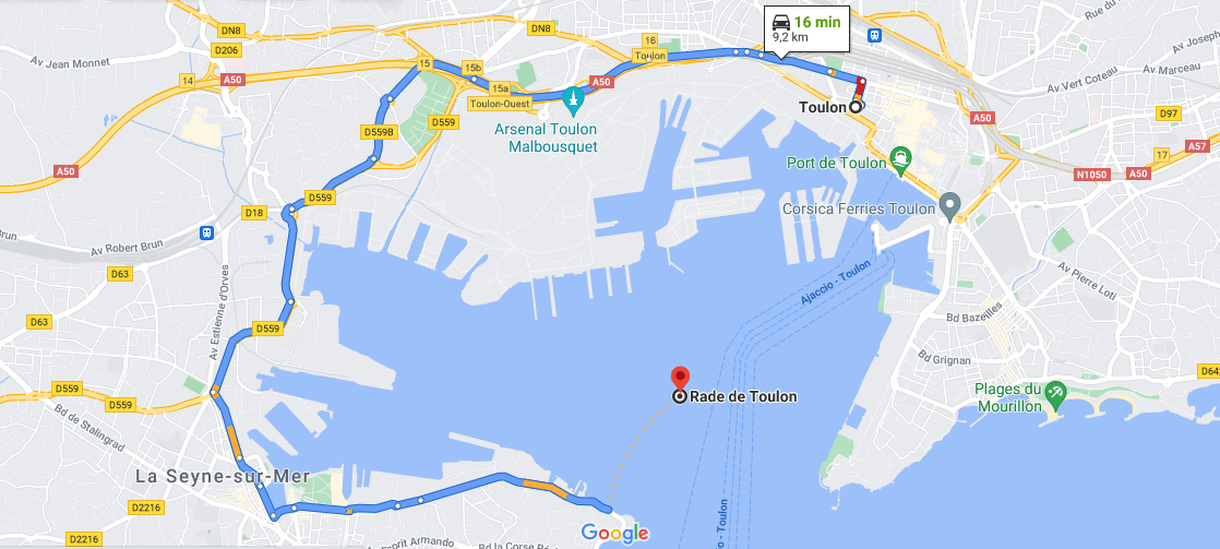 Où se situe la rade de Toulon