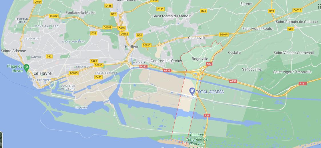 Où se trouve Rogerville sur la carte de France
