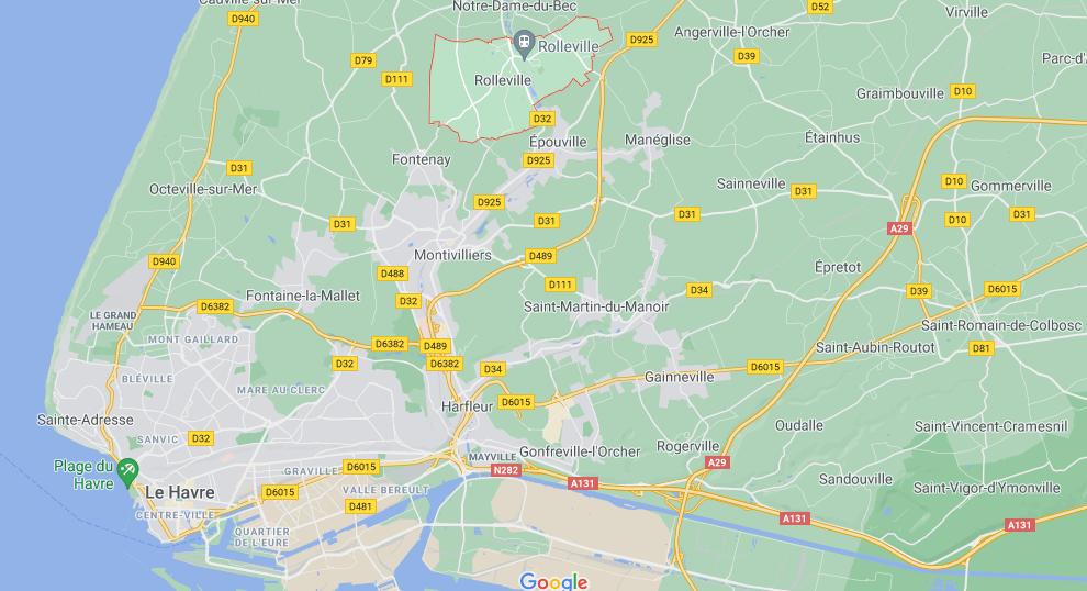 Où se trouve Rolleville sur la carte de France