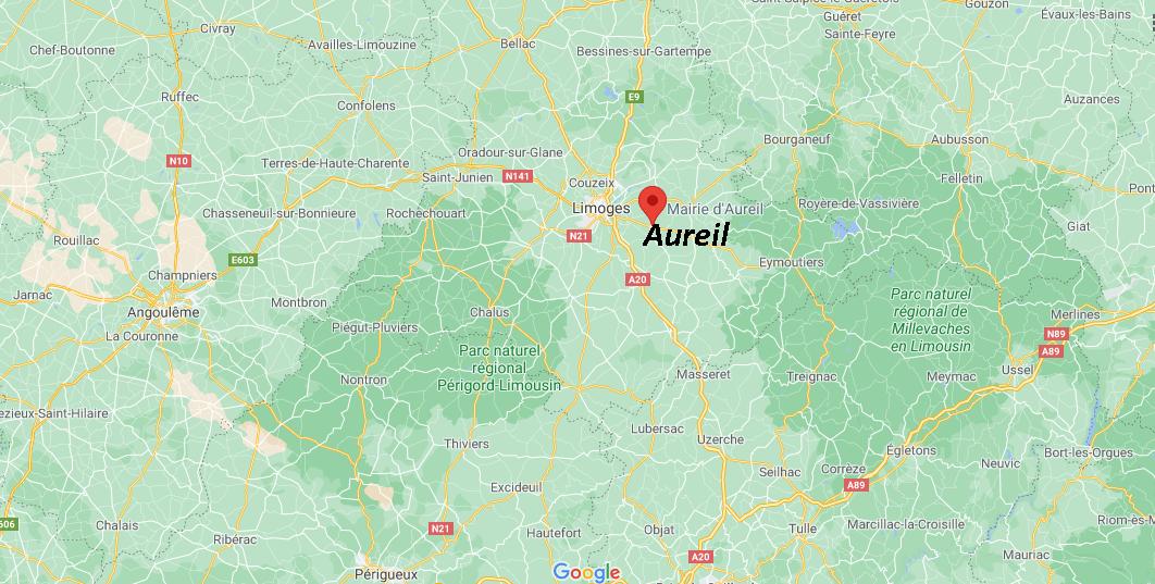 Où se situe Aureil (Code postal 87220)