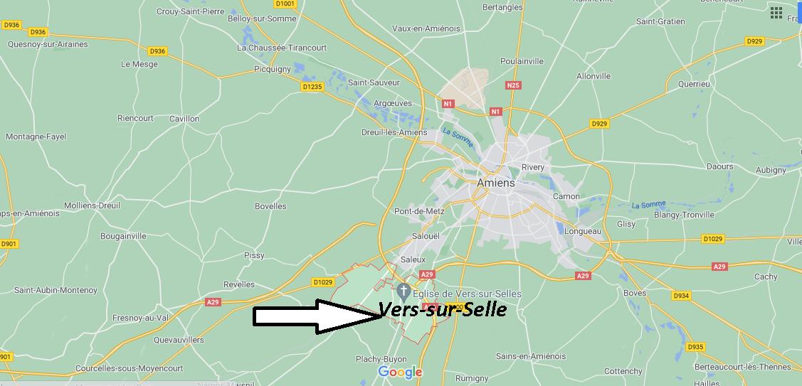 Où se situe Vers-sur-Selles (Code postal 80480)
