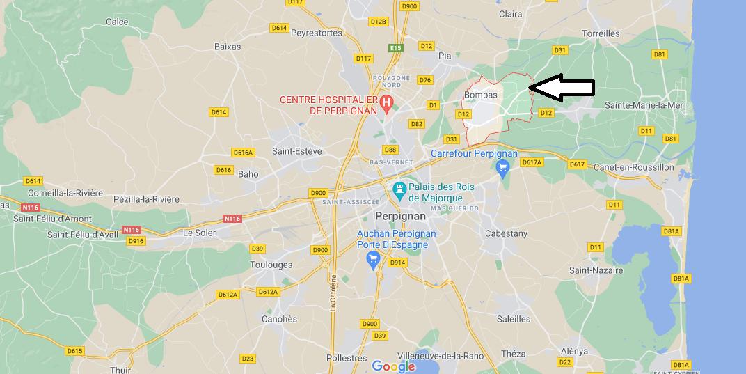Où se situe Bompas (Code postal 66430)