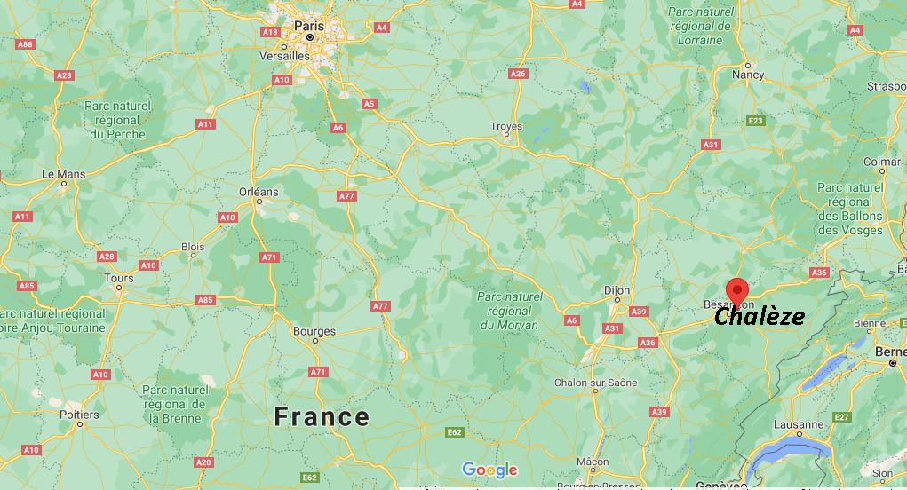 Où se situe Chalèze (Code postal 25220)