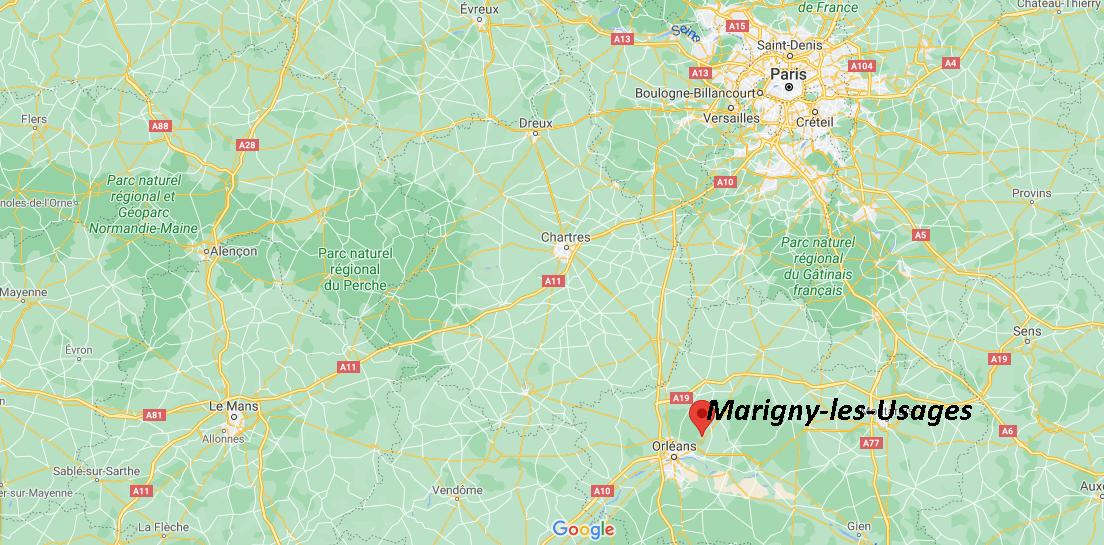 Où se situe Marigny-les-Usages (Code postal 45760)