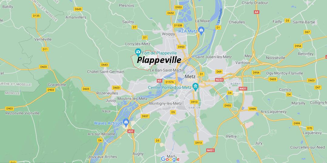 Où se situe Plappeville (Code postal 57050)