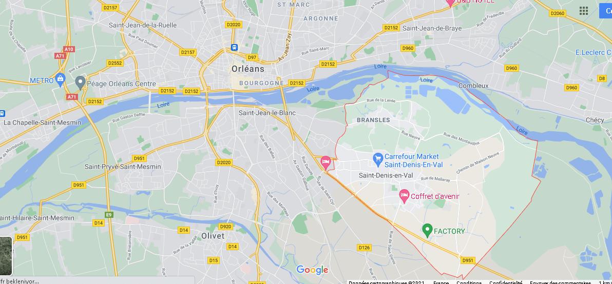 Où se situe Saint-Denis-en-Val (Code postal 45560)