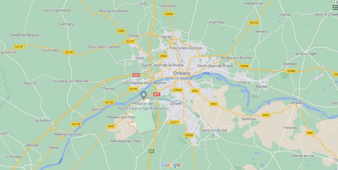 Où se situe Saint-Hilaire-Saint-Mesmin (Code postal 45160)