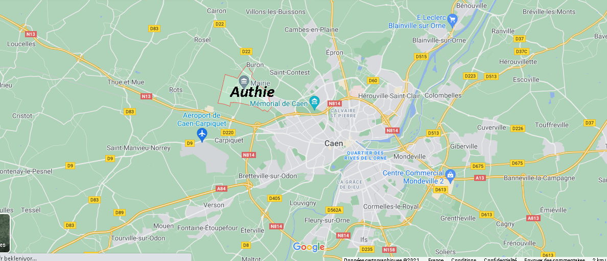 Où se situe Authie (Code postal 14280)