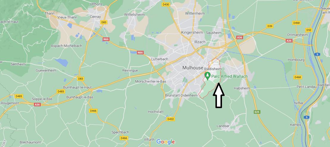 Où se situe Riedisheim (Code postal 68400)