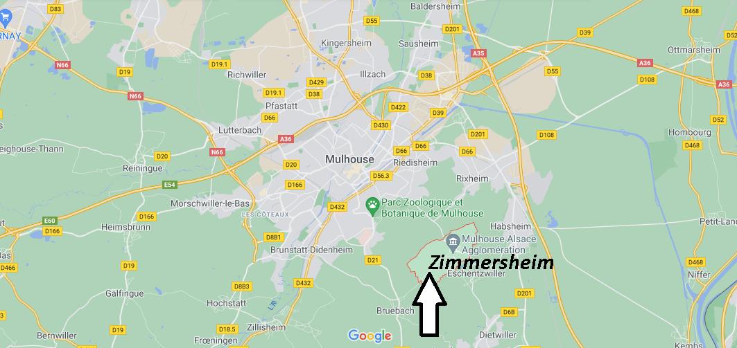 Où se situe Zimmersheim (Code postal 68440)