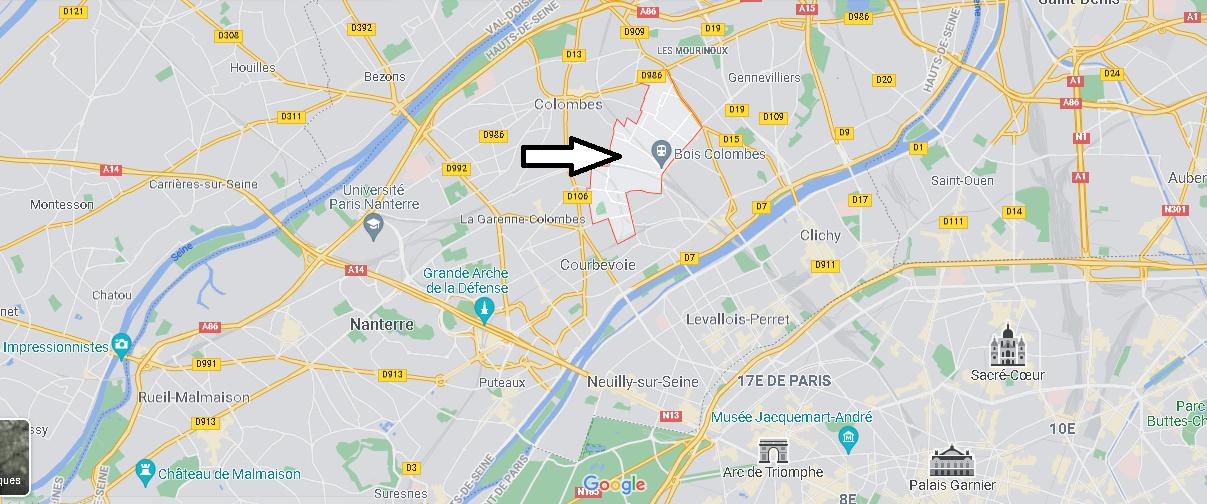 Où se situe Bois-Colombes (Code postal 92270)