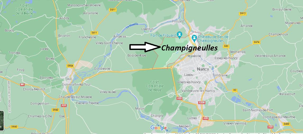 Où se situe Champigneulles (Code postal 54250)