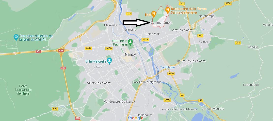 Où se situe Dommartemont (Code postal 54130)