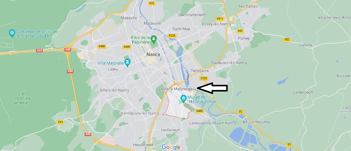 Où se situe Jarville-la-Malgrange (Code postal 54140)