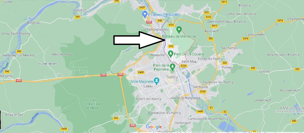 Où se situe Malzéville (Code postal 54220)