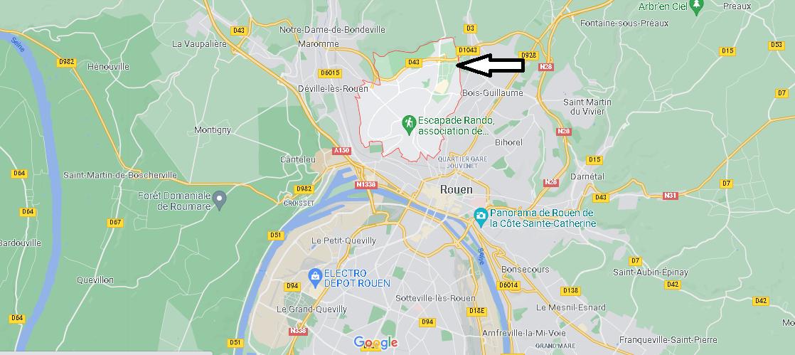 Où se situe Mont-Saint-Aignan (Code postal 76130)