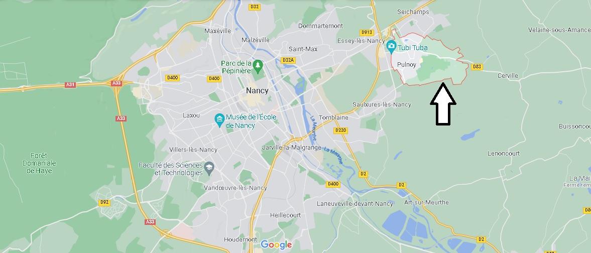 Où se situe Pulnoy (Code postal 54425)