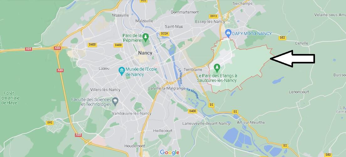 Où se situe Saulxures-lès-Nancy (Code postal 54420)
