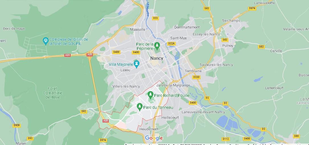 Où se situe Vandœuvre-lès-Nancy (Code postal 54500)