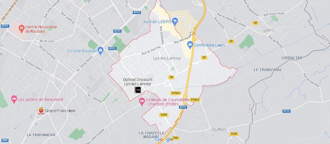 Carte Lys-lez-Lannoy