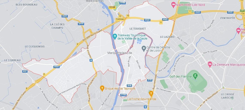 Carte Marquette-lez-Lille