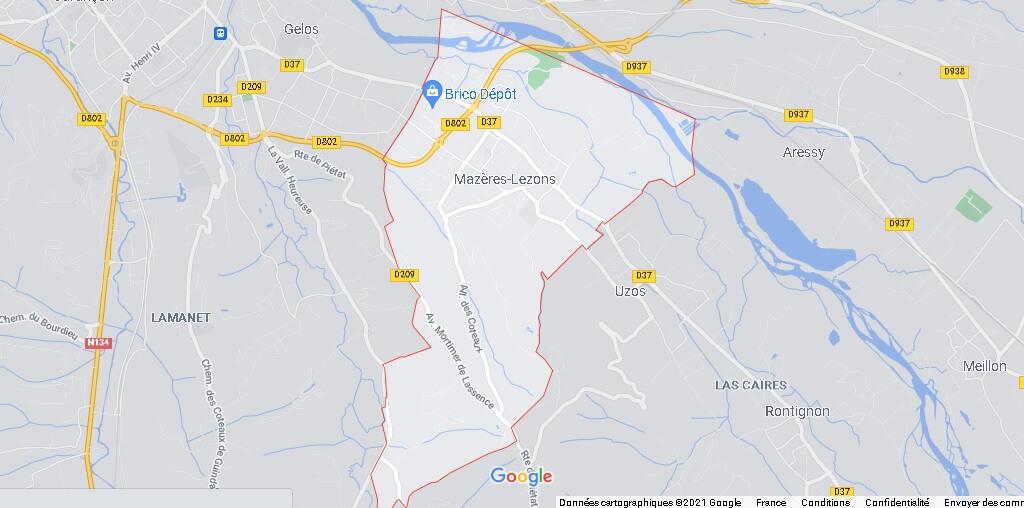 Carte Mazères-Lezons