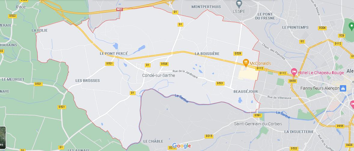 Carte Plan Condé-sur-Sarthe