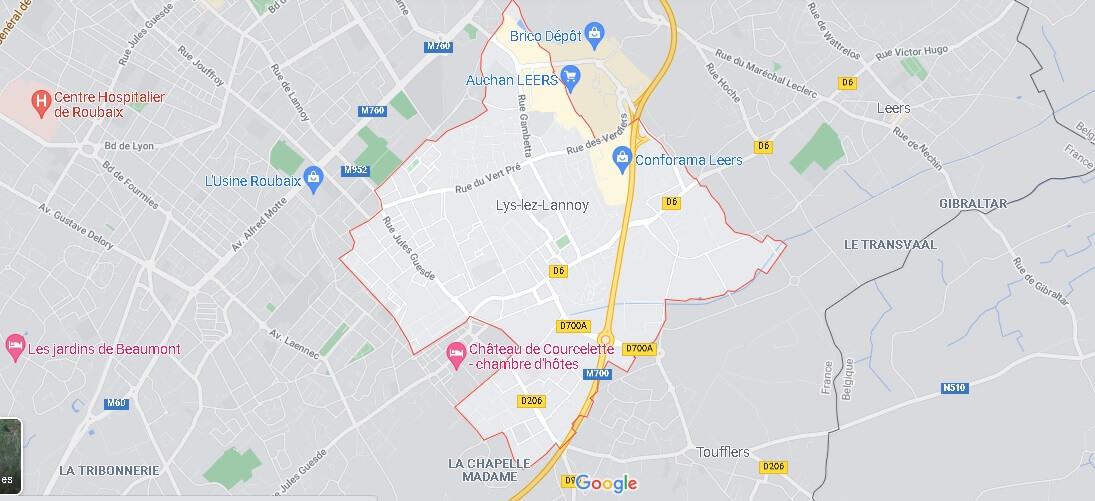 Carte Plan Lys-lez-Lannoy