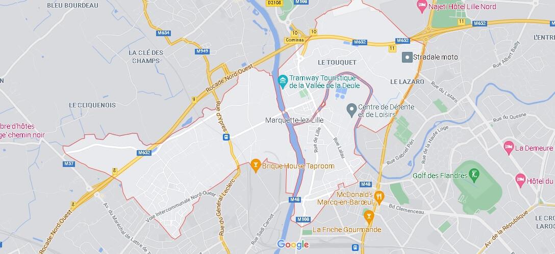 Carte Plan Marquette-lez-Lille